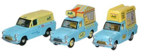 Oxford  1/76 Walls Ice Cream Set (Ford Anglia Vans) Ford Anglia Vans image