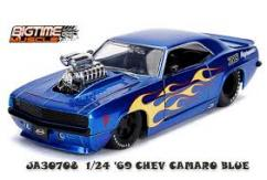 Jada 1/24 '69 Chev Camaro Candy Blue with Yellow Flame image
