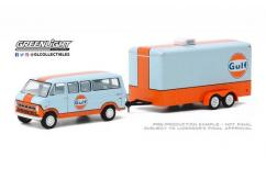 Greenlight 1/64 1972 Ford Club Wagon with Enclosed Trailer - Gulf Oil image