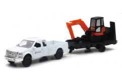 New Ray 1/43 Ford Pickup Truck with Kubota KX040 Excavator Trailer image