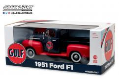 Greenlight Collectables 1/18 1951 Ford F1 Truck- Gulf Oil Black with Gulf Oil Branding image