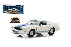 Greenlight Collectables 1/43 1976 Ford Mustang Cobra II White/Blue Stripe image