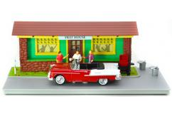 Motormax  1/43 1955 Chev Bel Air with Frat House Diorama  image