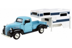 Motormax  1/24 1941 Plymouth Pick Up Truck Camper Blue  image