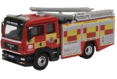Oxford  1/76 MAN Pump Ladder Hertfordshire Fire  image