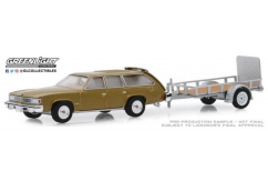 Greenlight 1/64 1977 Pontiac LeMans Safari and Utility Trailer image