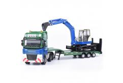 Kaidiwei 1/50 3-Axle Transporter Truck with HR32 Mini Excavator image