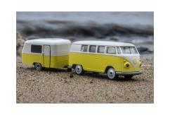 Majorette 1/59 VW Kombi & Trailer Yellow image