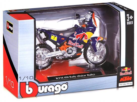 Bburago 1/18 KTM 450 Red Bull Rally Bike (Dakar Rally) image