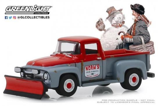 Greenlight 1/64 1956 Ford F-100 with Snow Plow image