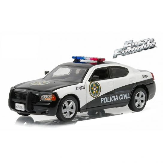 Greenlight Collectables 1/43 2006 Dodge Charger- Rio Police Black/White image