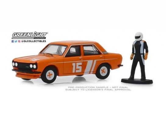Greenlight 1/64 1970 Datsun 4-Door Sedan with Race Driver image