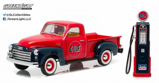 Greenlight Collectables 1/18 1950 GMC 150 Gulf Oil with Vinatage Gas Pump Red/Black image