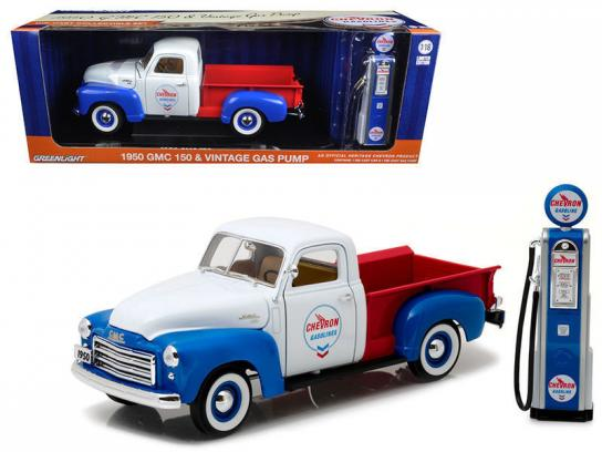 Greenlight Collectables 1/18 1950 GMC 150 Chervon with Vintage Pump White/Red/Blue image