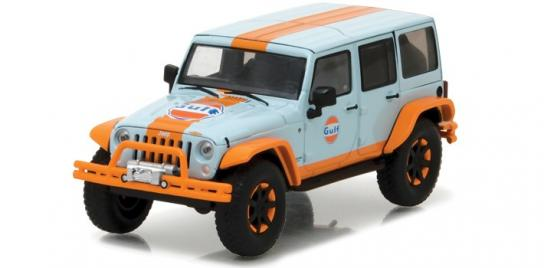 Greenlight 1/43 2015 Jeep Wrangler with Off Road Bumpers Blue/Orange image