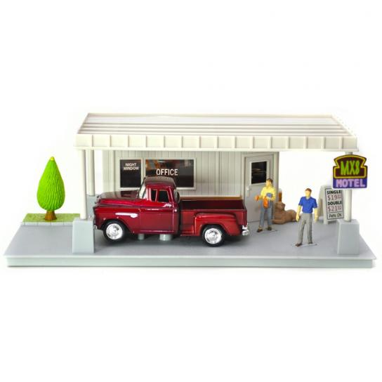 Motormax  1/43  1955 Chev Pick Up with Motel Diorama image